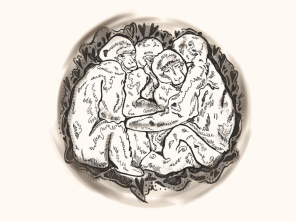 2D Black and White Hugging Money Cuddle Illustration Image