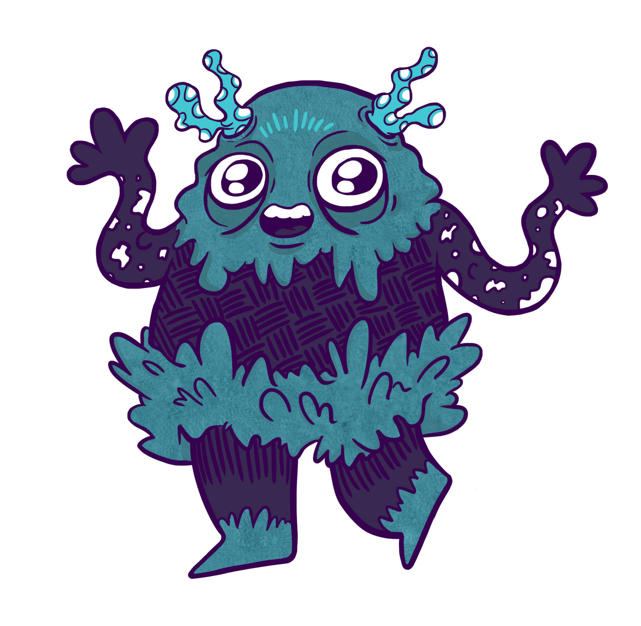 2D Cartoon Slime Monster Character Illustration