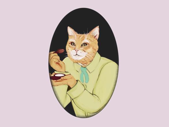 2D Cats Do Makeup Illustration Image
