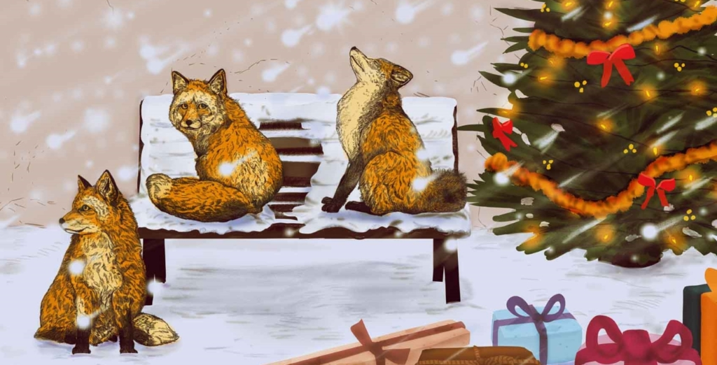 2D Christmas Foxes Illustration Image