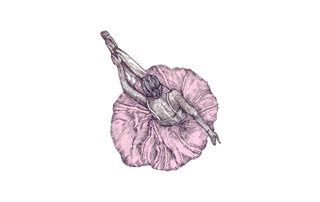2D Pink Ballerina Illustration Image