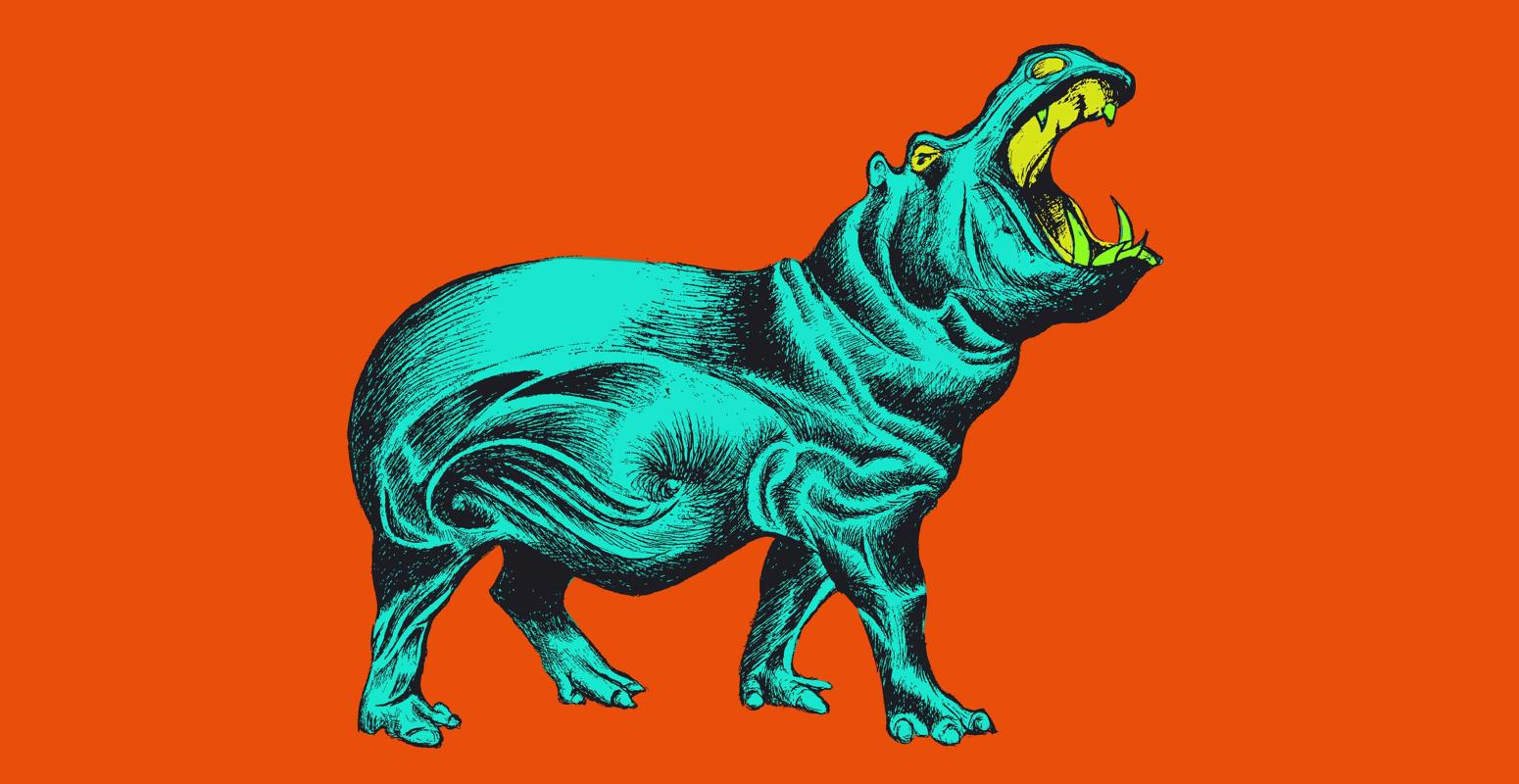 2D Retro Roaring Hippo Illustration Image