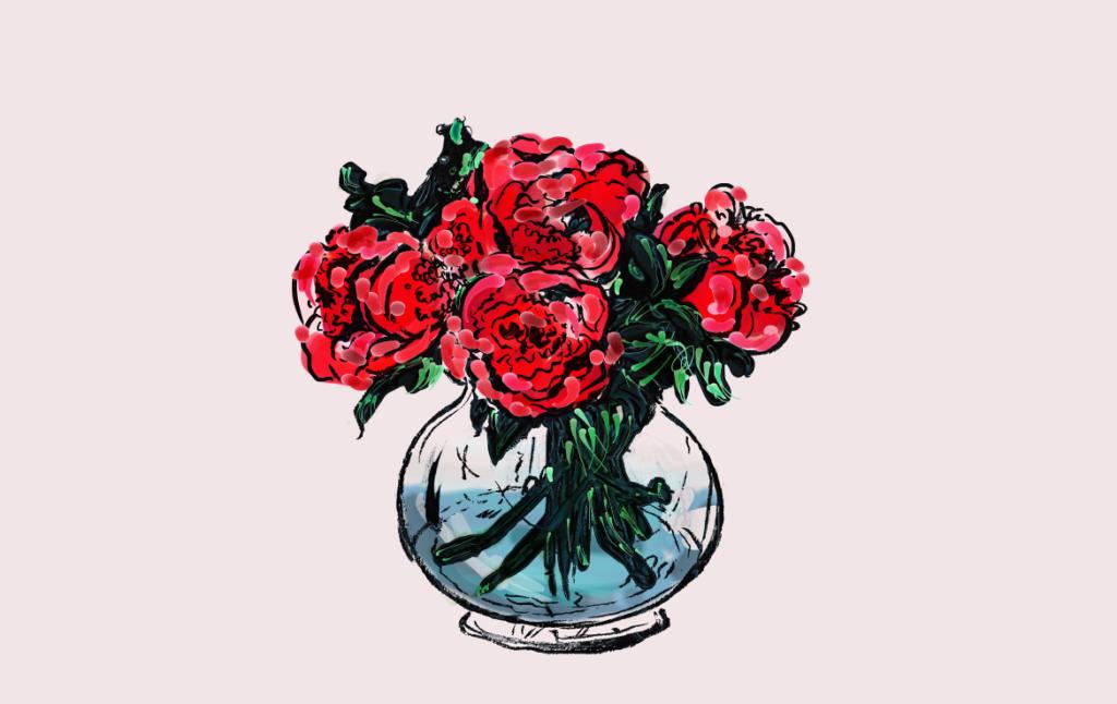 2D Rose Bowl Illustration Image