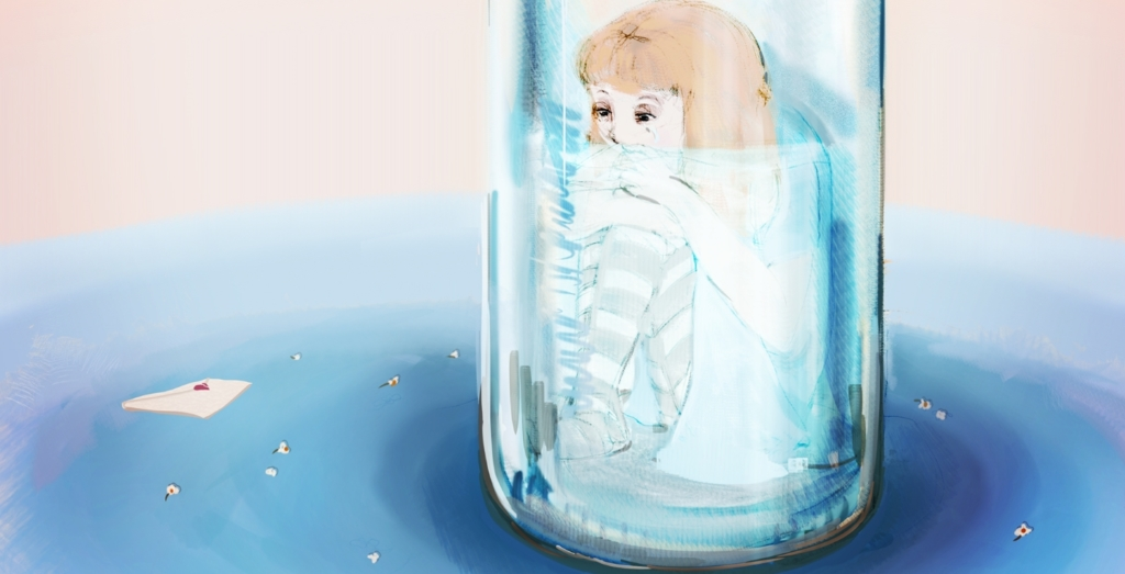 2D Sad Alice Girl In Glass Bottle Illustration Image