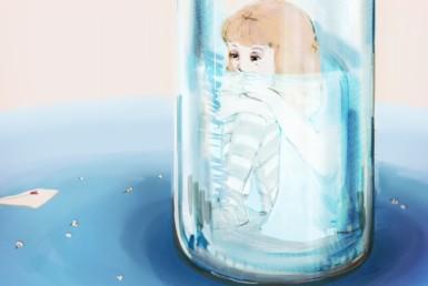 2D Sad Alice Girl In Glass Bottle Illustration Image