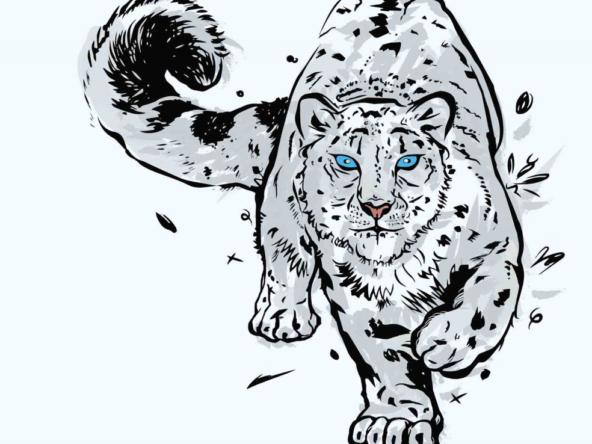 2D Snow Leopard Illustration Image