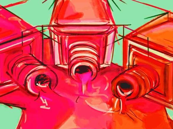2D Spilt Nail Polish Bottles Illustration Image