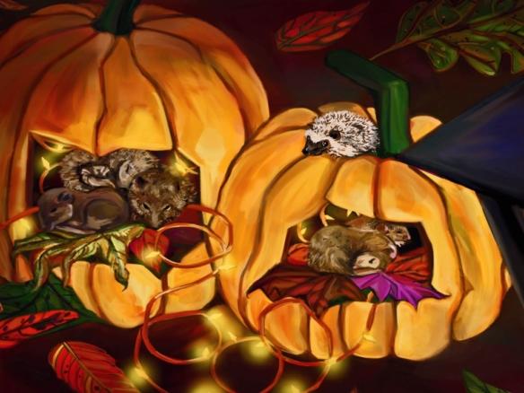 2d Autumn Pumpkin Wildlife Illustration Image