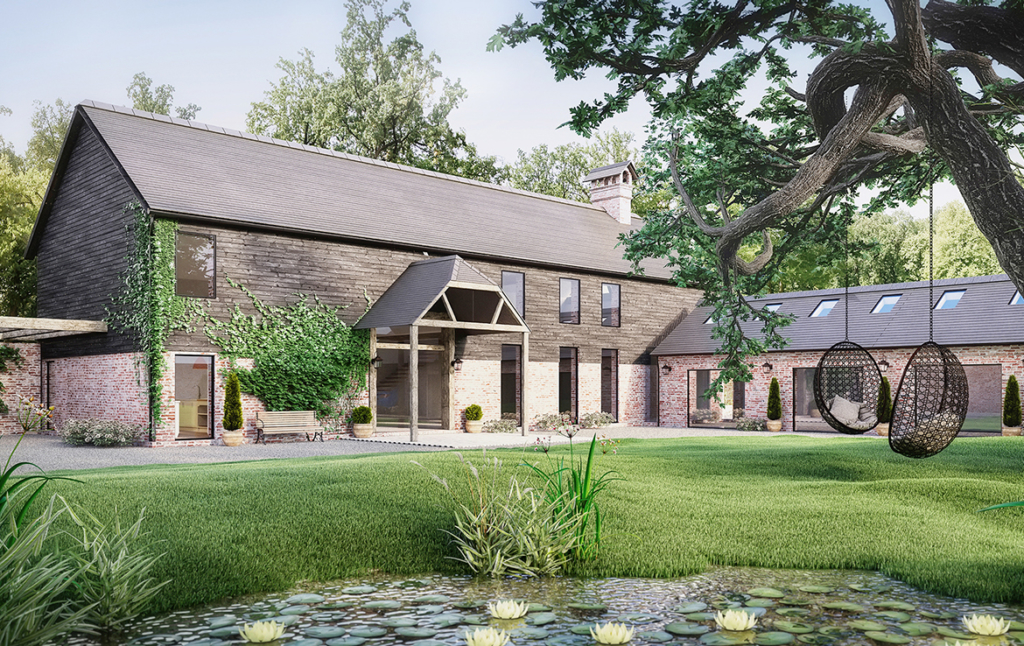 3D Barn House Conversion Exterior Architectural Illustration Thumbnail