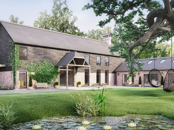 3D Barn House Conversion Exterior Architectural Illustration Thumbnail