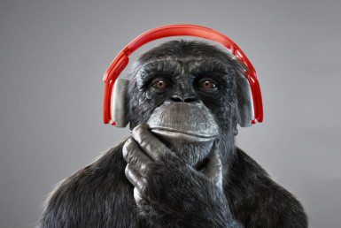 3D Chimp Wearing Headphones Character Illustration Thumbnail