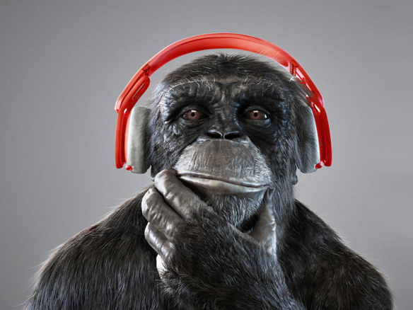 3D Chimp Wearing Headphones Character Illustration Thumbnail