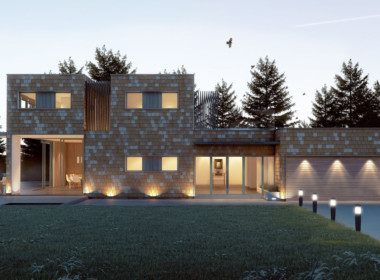 3D Contemporary Cube House Architectural Illustration Thumbnail