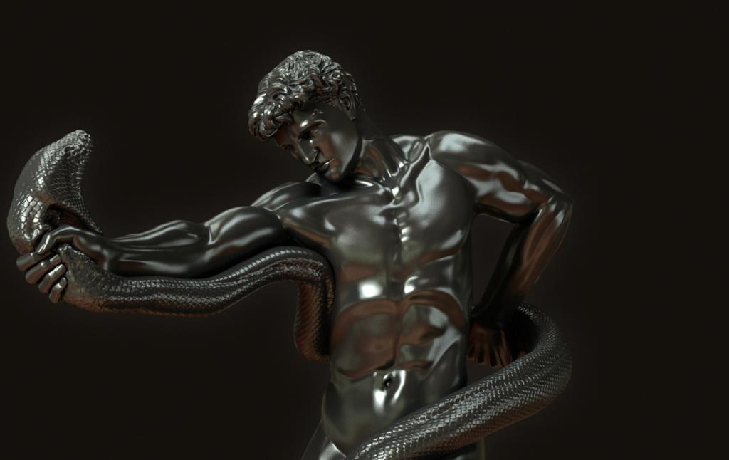 3D Hercules Statue Character Illustration Thumbnail