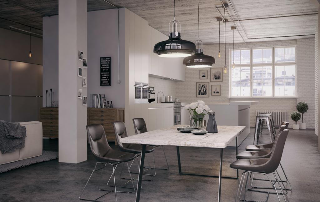 3D Industrial Apartment Interior Architectural Illustration Thumbnail