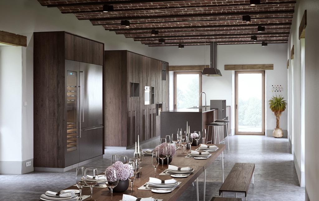 3D Mid Century Dining Room Architectural Illustration Thumbnail