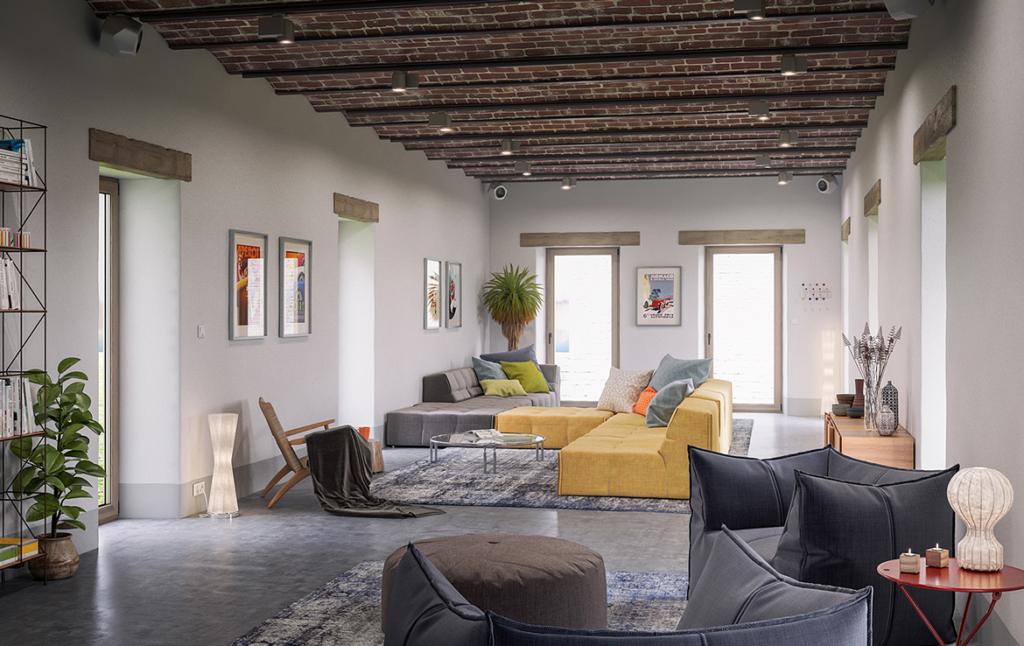 3D Mid Century Living Room Architectural Illustration Thumbnail