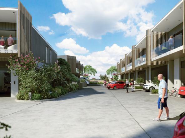 3D Modern Housing Complex Exterior Architectural Illustration Thumbnail