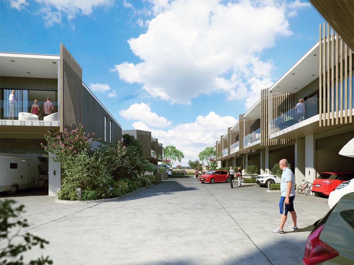 3D Modern Housing Complex Exterior Architectural Illustration