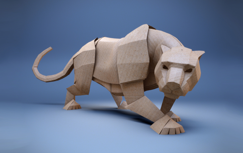3D Paper Panther Character Illustration Thumbnail