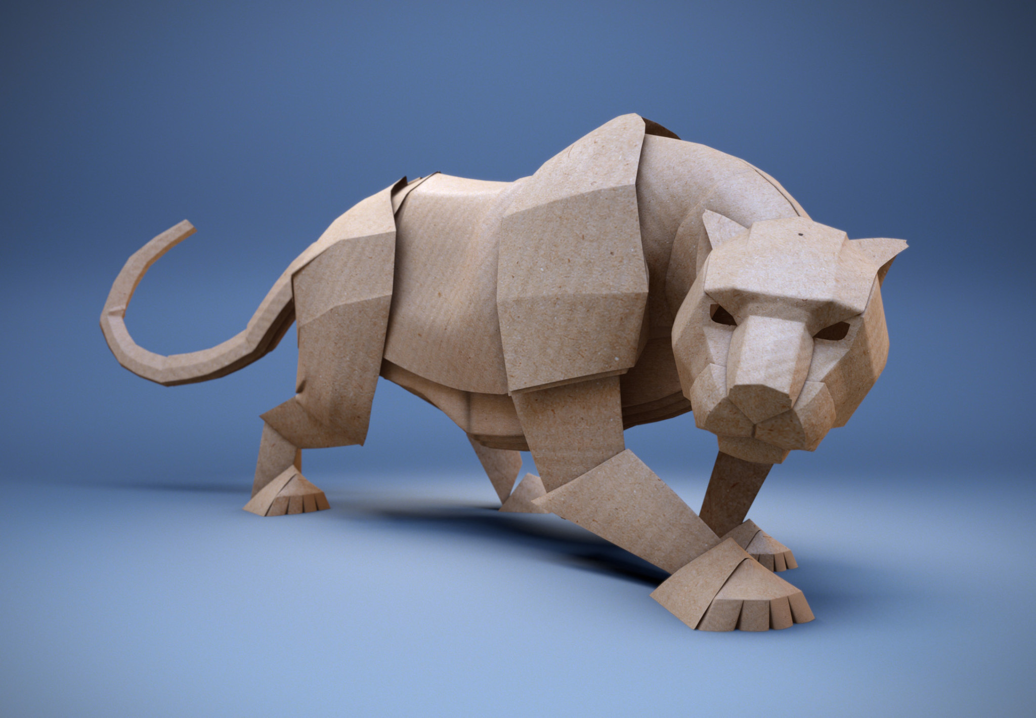 3D Paper Panther Character Illustration