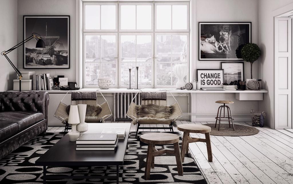 3D Rustic Living Room Illustration Thumbnail