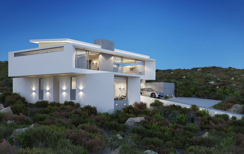 3D Ultra Modern Detached House Architectural Illustration Thumbnail