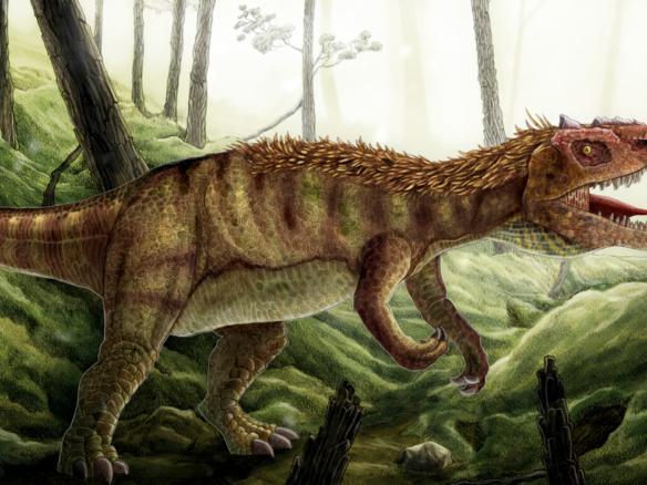 2D Allosaurus Roaring Dinosaur Creature Illustration Thumbnail