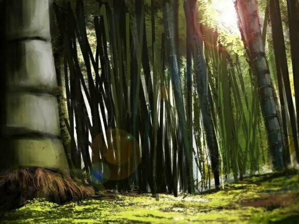 2D Bamboo Forest Environment Illustration Thumbnail
