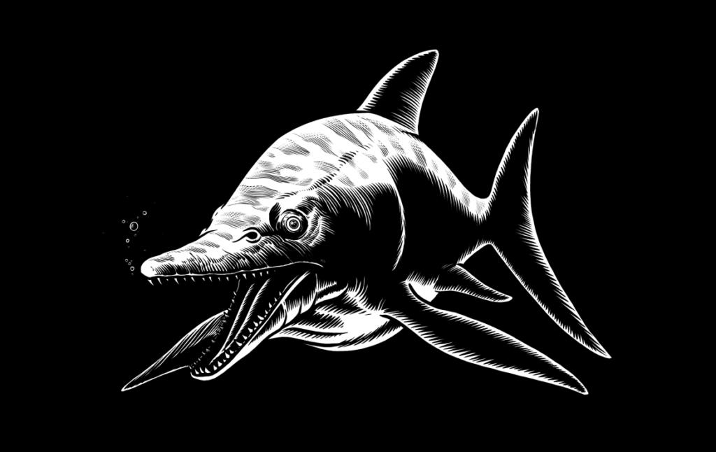 2D Black and White Dinosaur Dolphin Illustration Thumbnail