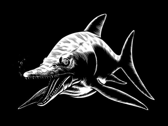 2D Black and White Dinosaur Dolphin Illustration Thumbnail