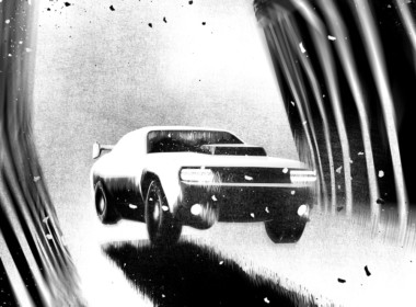 2D Black and White Driving in the dark Illustration Thumbnail