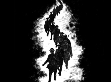 2D Black and White Marching Soldiers Illustration Thumbnail