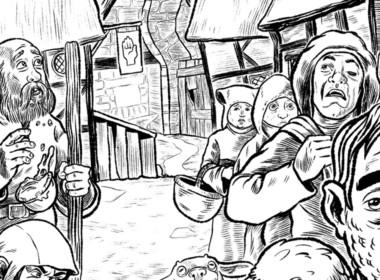 2D Black and White Medieval Peasants Illustration Thumbnail