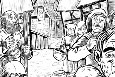 2D Black and White Medieval Peasants Illustration Thumbnail