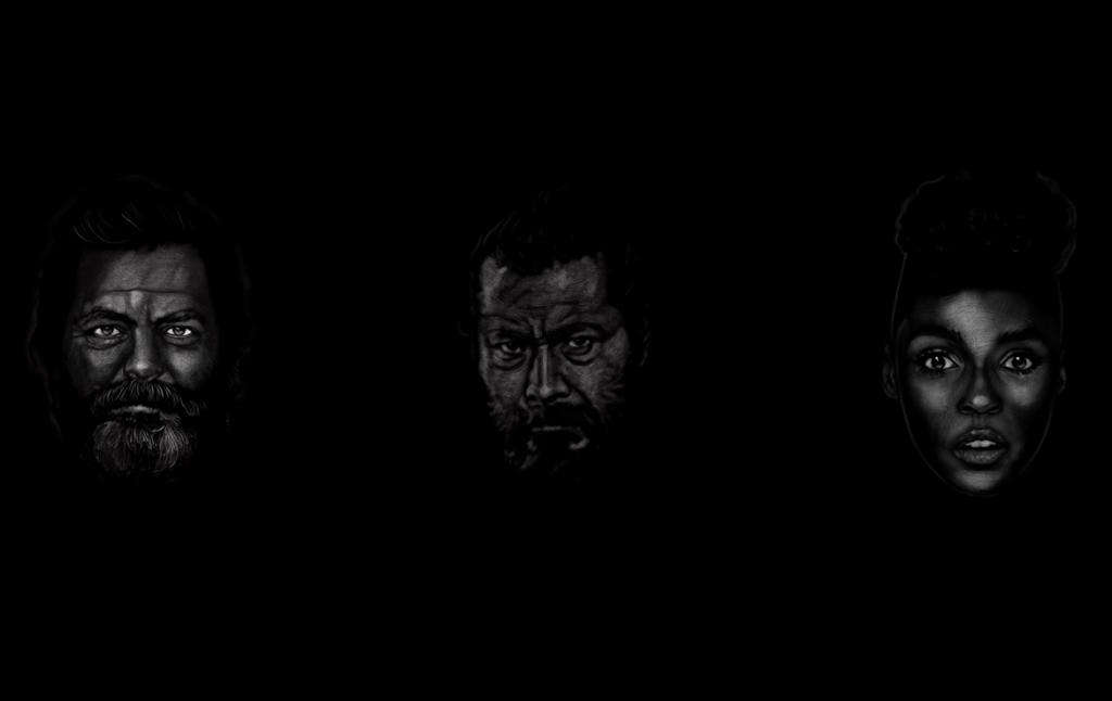 2D Black and White Three Faces Illustration Thumbnail