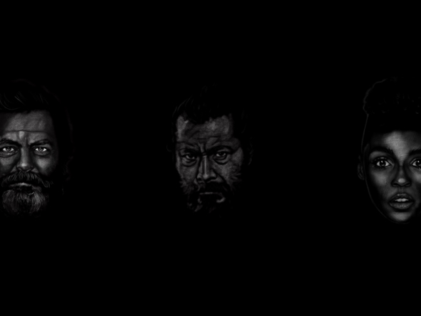 2D Black and White Three Faces Illustration Thumbnail