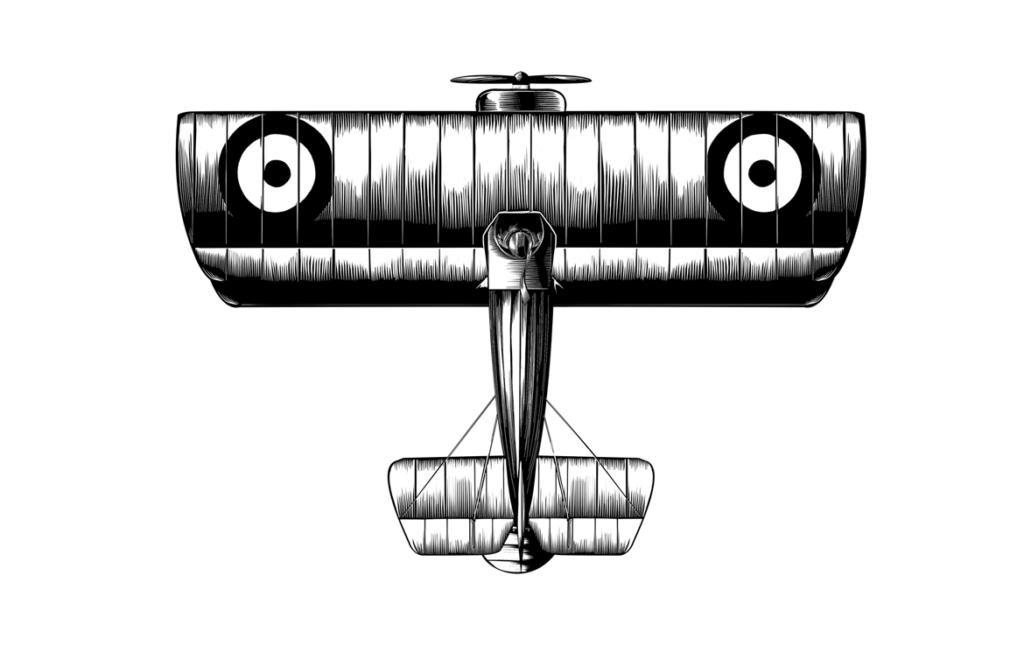 2D Black and White WW1 Plane Illustration Thumbnail