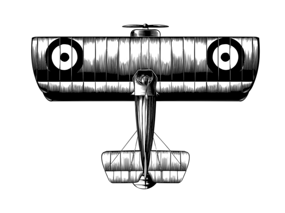 2D Black and White WW1 Plane Illustration Thumbnail