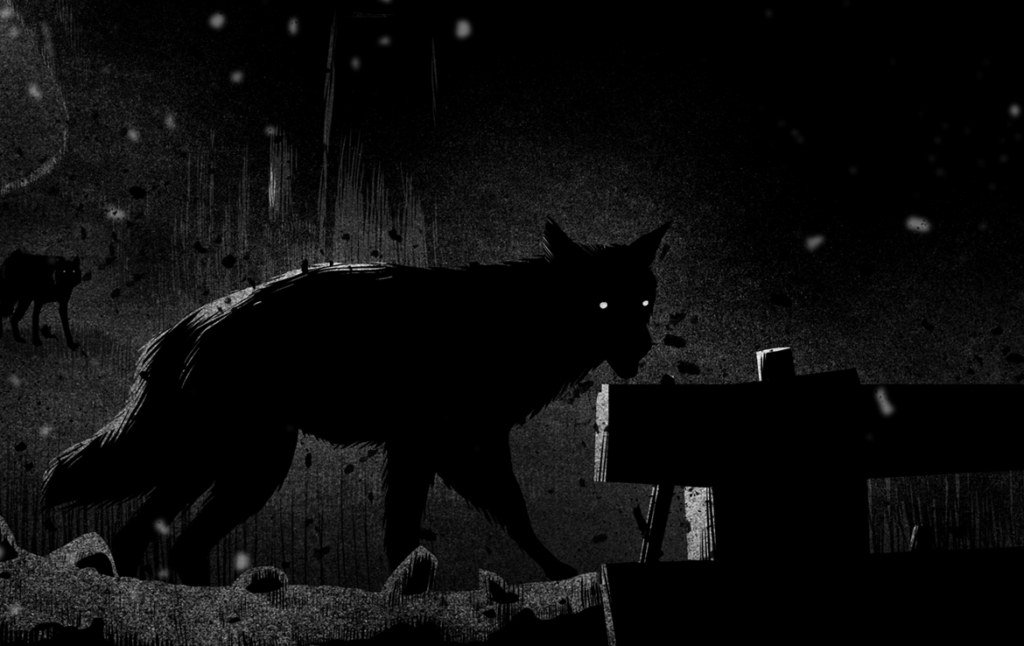 2D Black and White Wolves at Night Creature Illustration Thumbnail