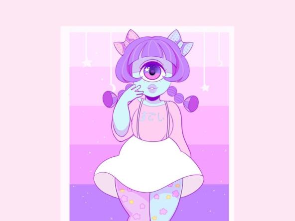 2D Blue Cute Cyclopes Character Illustration Thumbnail