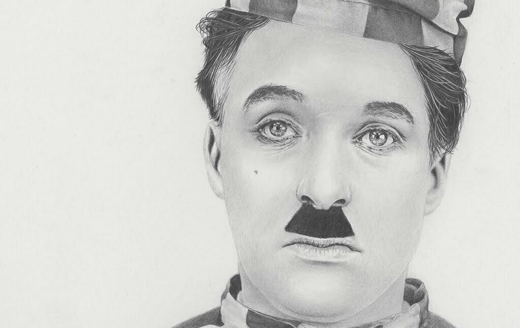 2D Charlie Chaplin Realistic Pencil Character Illustration Thumbnail