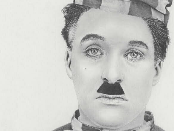 2D Charlie Chaplin Realistic Pencil Character Illustration Thumbnail