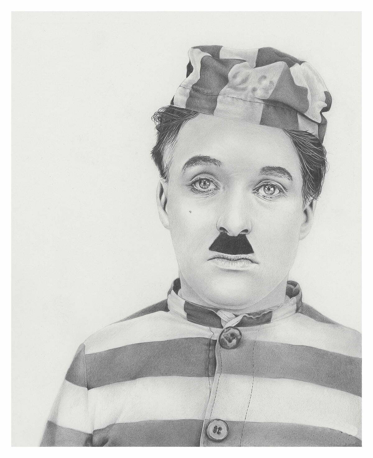 2D Charlie Chaplin Realistic Pencil Character Illustration