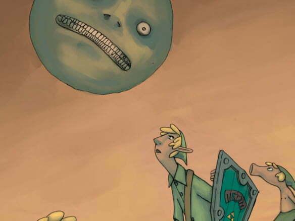 2D Creepy Moon Zelda Videogame Illustration Thumbnail
