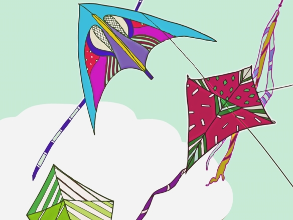 2D Flying Kite Collection Illustration Image