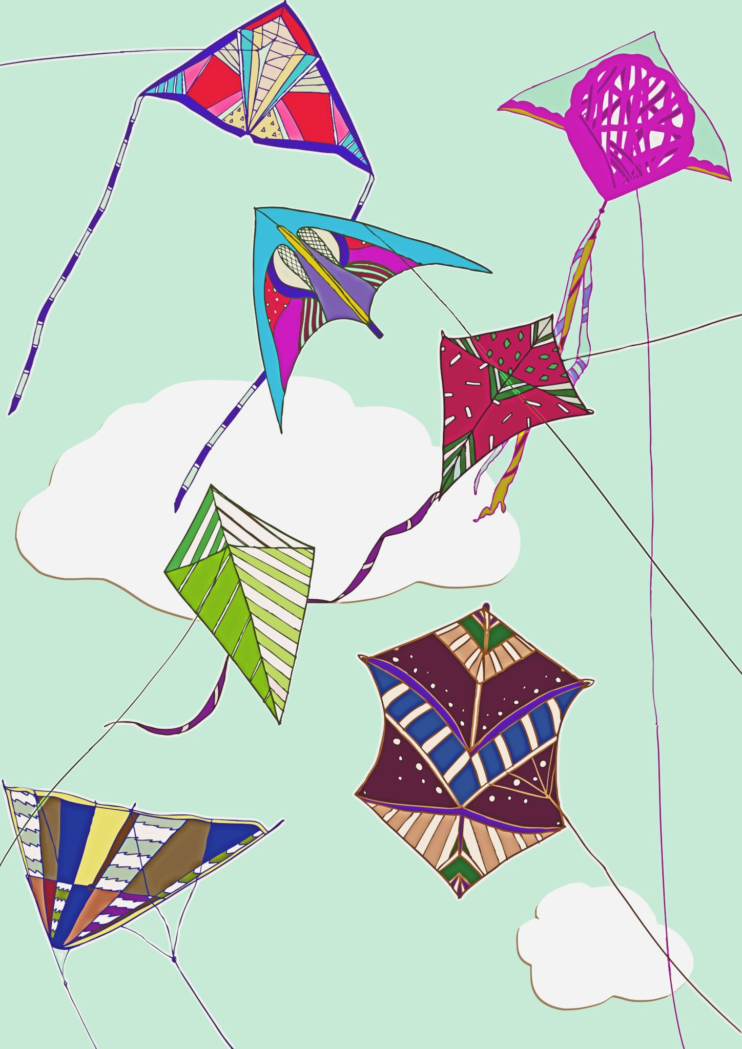 2D Flying Kite Collection Illustration