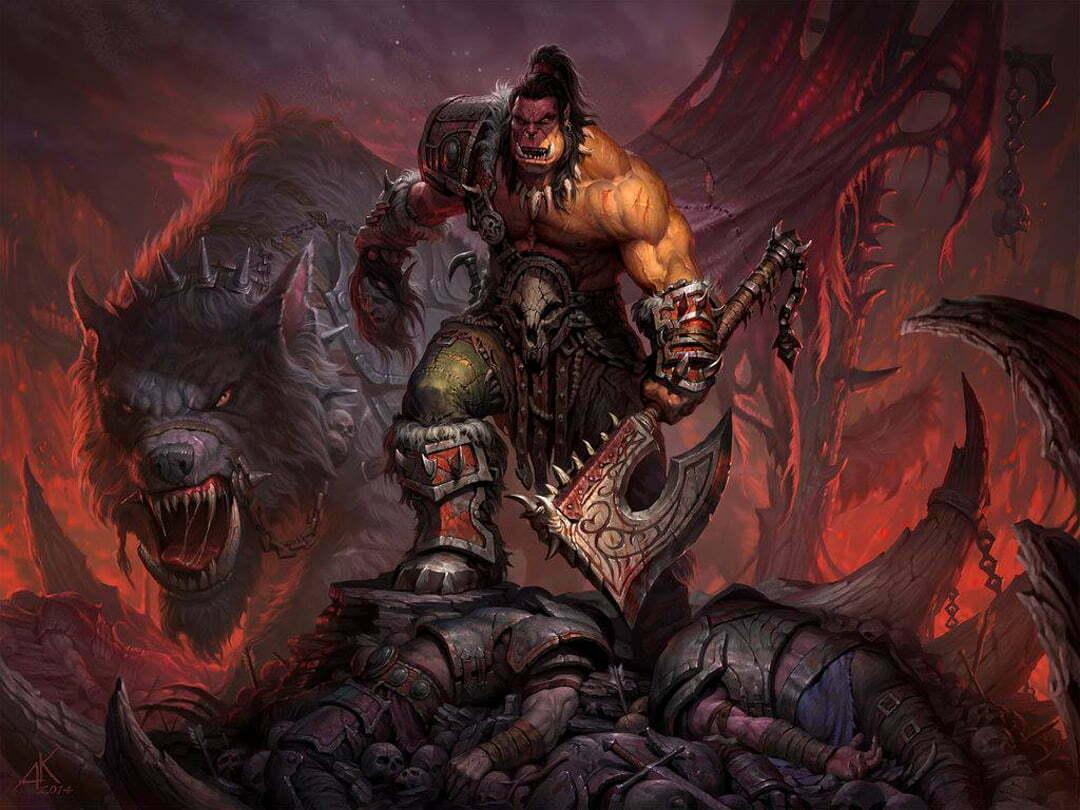 2D Fantasy Orc Warrior Character Illustration