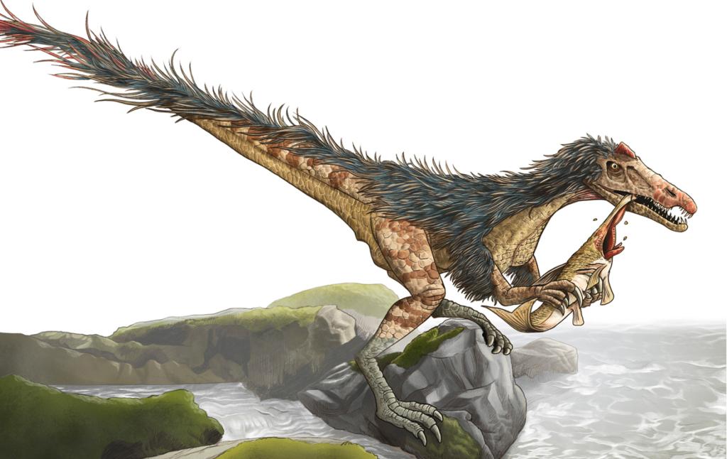 2D Feathered Dinosaur Eating Creature Illustration Thumbnail