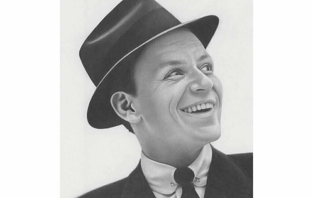 2D Frank Sinatra Realistic Pencil Character Illustration Thumbnail
